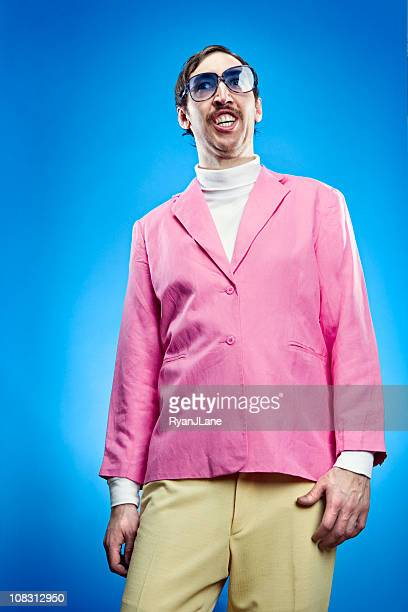 goofy pastel retro man - wardrobe malfunction stock pictures, royalty-free photos & images