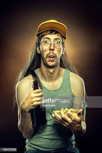 Goofy Redneck With Beer and Chips