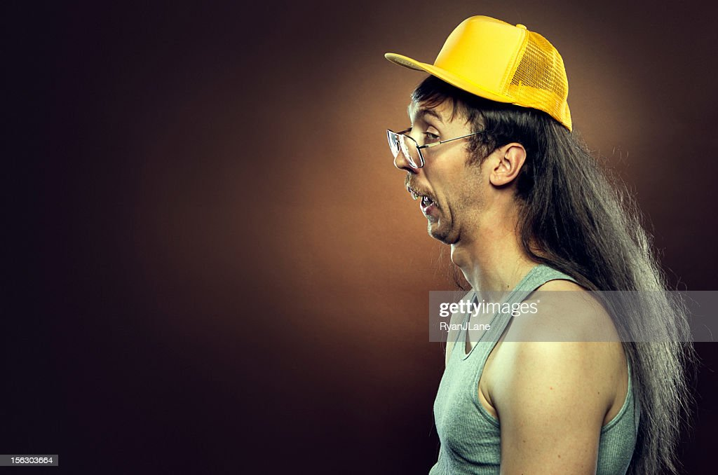 Goofy Redneck With Mullet : Stock Photo