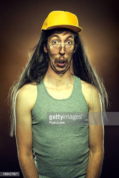 goofy redneck with surprised face - redneck stock photos and pictures