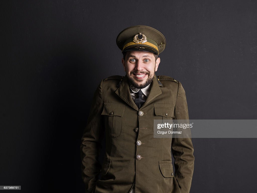 Goofy Soldier Smiling Portrait : Stock Photo