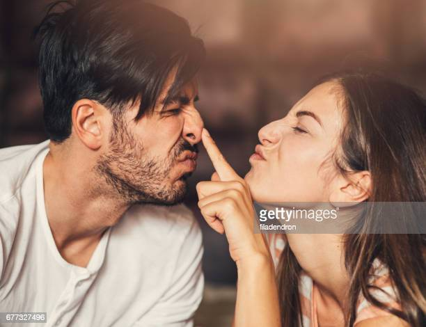 goofy young couple - nose stock pictures, royalty-free photos & images