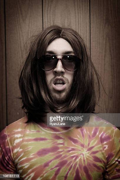 goofy young hippy man portrait - redneck woman stock photos and pictures