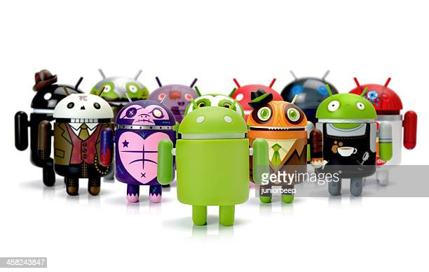 google android phone characters group - android stock pictures, royalty-free photos & images