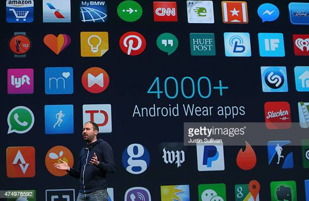 Google Android Wear director David Singleton announces Androidwear updates during the 2015 Google I/O conference on May 28 2015 in San Francisco...
