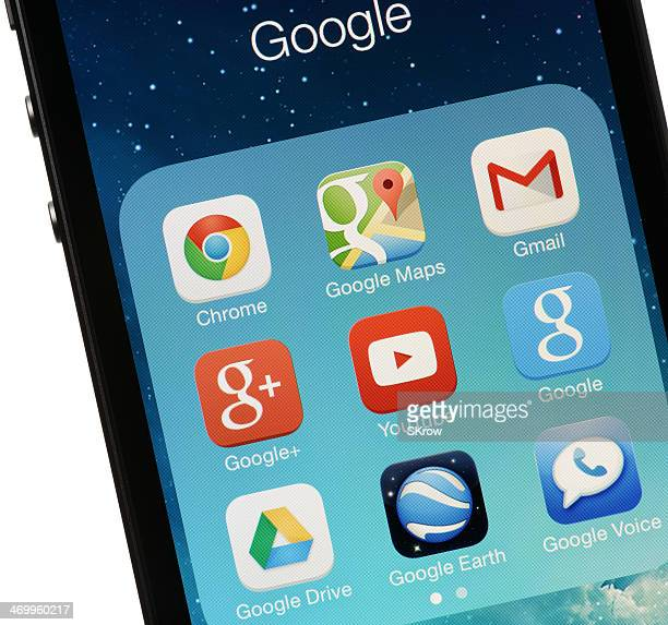google apps on an iphone - chrome stock photos and pictures