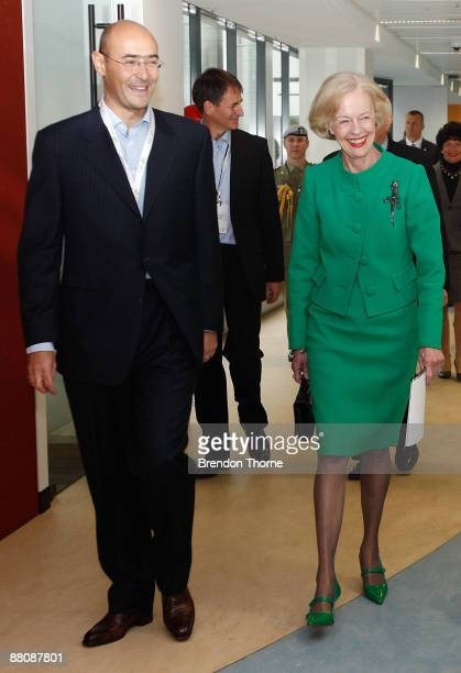 Google Australia General Manager Karim Temsamani and GovernorGeneral Quentin Bryce inspect the offices during the opening of the new Sydney...