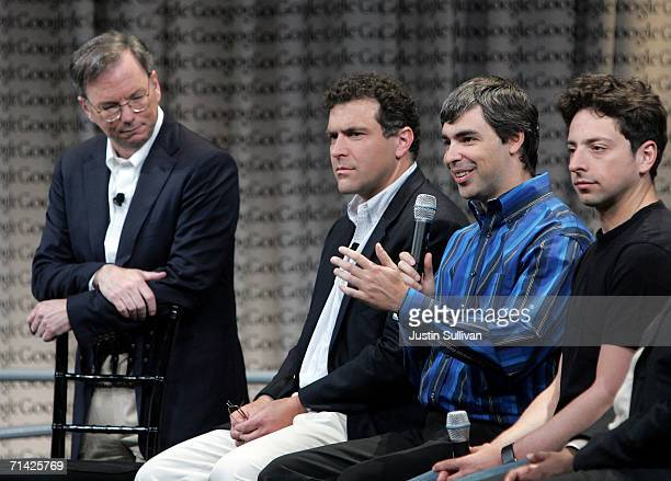 Google CEO Eric Schmidt and founders Larry Page and Sergey Brin talk with members of the media at Google Press Day 2006 May 10 2006 in Mountain View...