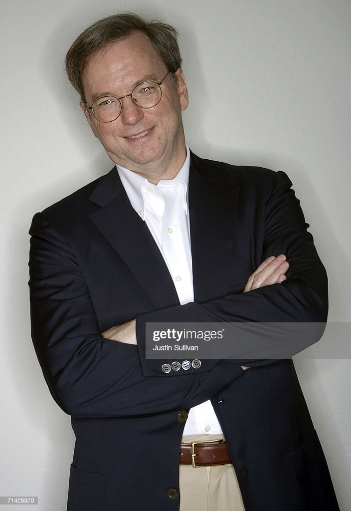 Google CEO Eric Schmidt poses at the Google headquarters on May 11, 2006 in Mountain View, California.