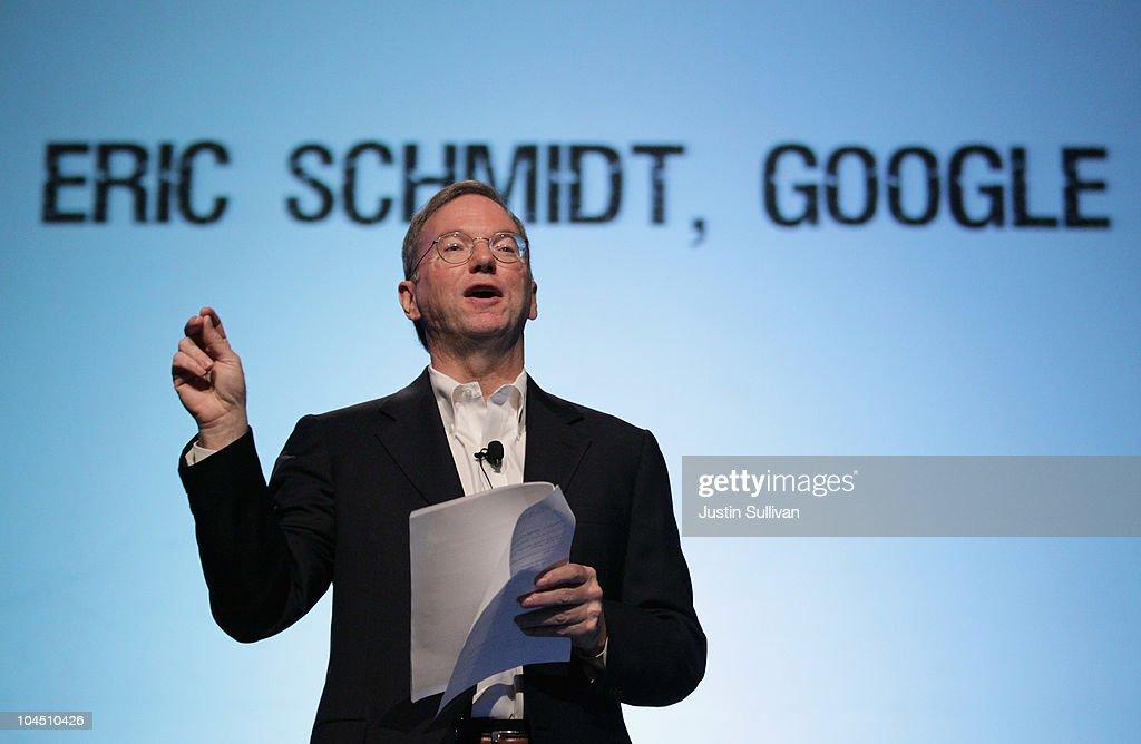 Google CEO Eric Schmidt speaks during the TechCrunch Disrupt Conference on September 28, 2010 in San Francisco, California. The TechCruch Disrupt Conference runs through September 29.