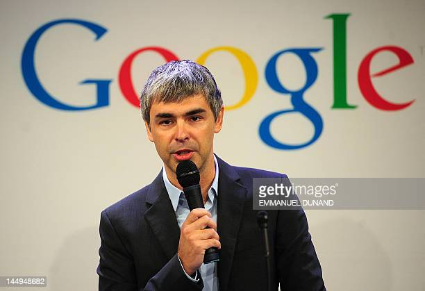 Google CEO Larry Page holds a press annoucement at Google headquarters in New York onMay 21 2012 Google announced that it will allocate 22000 square...