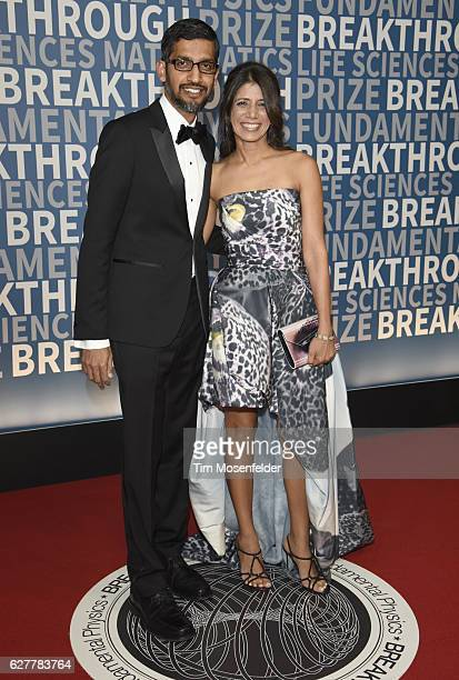 Google CEO Sundar Pichai and guest attend the 5th Annual Breakthrough Prize Ceremony at NASA Ames Research Center on December 4 2016 in Mountain View...