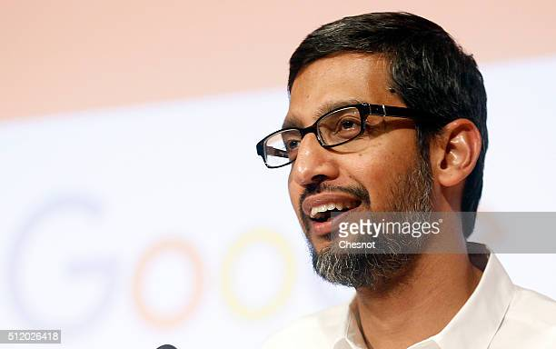 Google CEO Sundar Pichai delivers a speech to the Sciences Po students on February 24 2016 in Paris France For his first European tour since his...