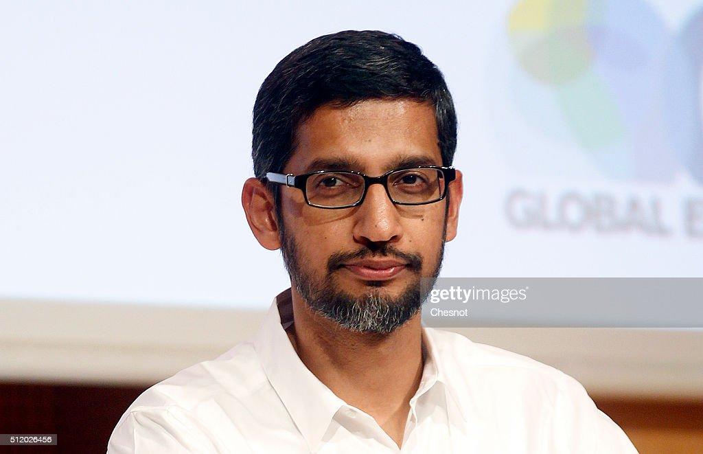 Sundar PICHAI, Google CEO Gives A Keynote To The Sciences Po Students : News Photo