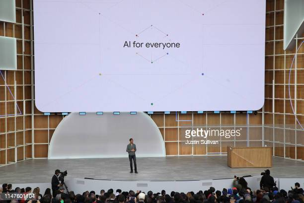 Google CEO Sundar Pichai delivers the keynote address at the 2019 Google I/O conference at Shoreline Amphitheatre on May 07 2019 in Mountain View...