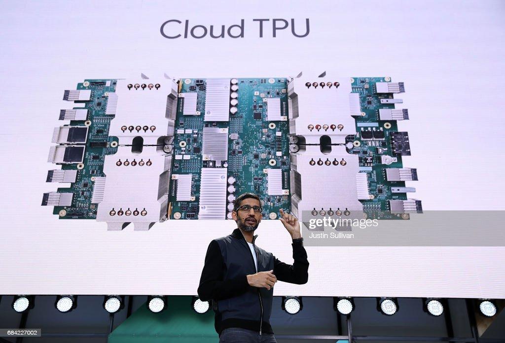 Google CEO Sundar Pichai Opens I/O Developer Conference : News Photo