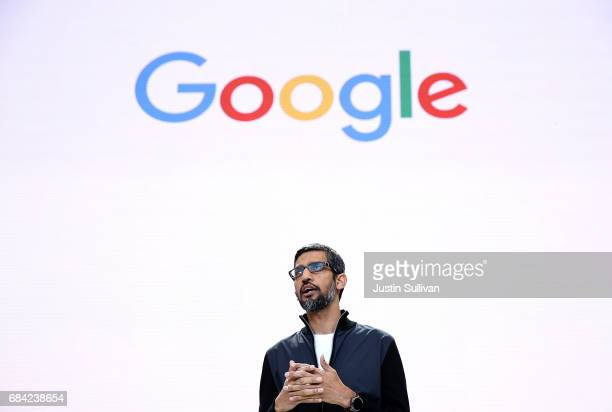 Google CEO Sundar Pichai delivers the keynote address at the Google I/O 2017 Conference at Shoreline Amphitheater on May 17 2017 in Mountain View...