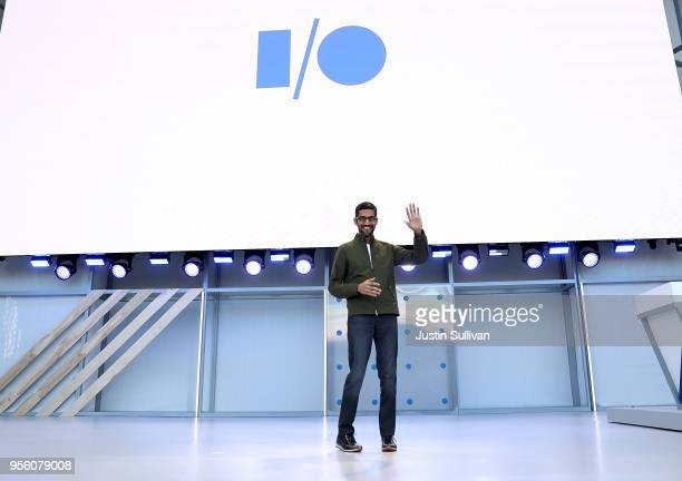 Google CEO Sundar Pichai delivers the keynote address at the Google I/O 2018 Conference at Shoreline Amphitheater on May 8 2018 in Mountain View...