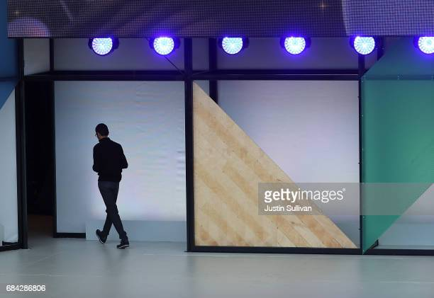 Google CEO Sundar Pichai leaves the stage after delivering the keynote address at the Google I/O 2017 Conference at Shoreline Amphitheater on May 17...