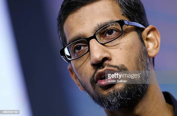 Google CEO Sundar Pichai speaks during a Google media event on September 29 2015 in San Francisco California