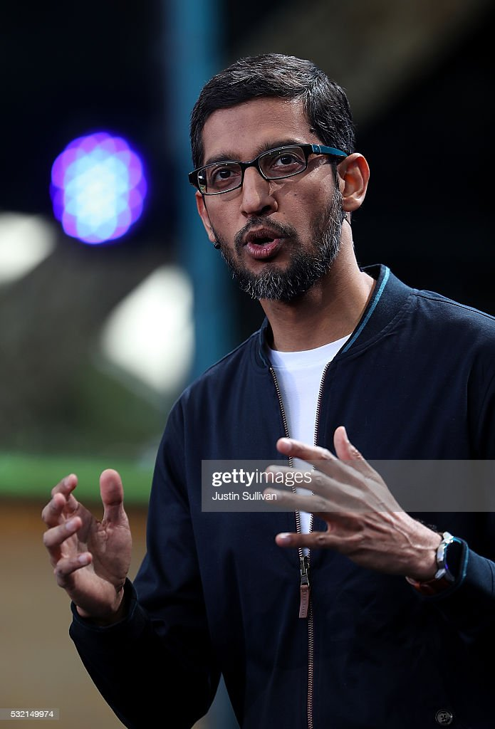 Google CEO Sundar Pichai speaks during Google I/O 2016 at Shoreline Amphitheatre on May 19, 2016 in Mountain View, California. The annual Google I/O conference is runs through May 20.