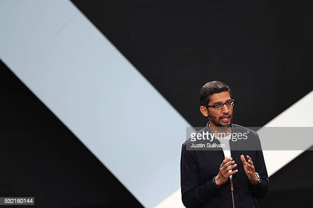 Google CEO Sundar Pichai speaks during Google I/O 2016 at Shoreline Amphitheatre on May 19 2016 in Mountain View California The annual Google I/O...