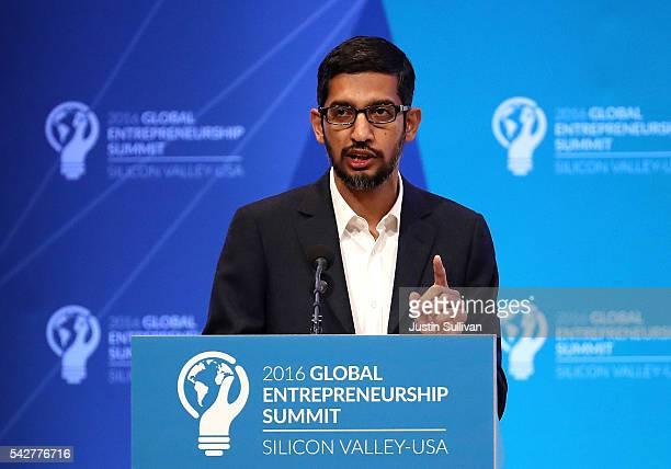 Google CEO Sundar Pichai speaks during the 2016 Global Entrepreneurship Summit at Stanford University on June 24 2016 in Stanford California...