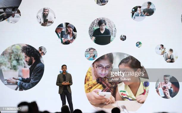 Google CEO Sundar Pichai speaks during the GDC Game Developers Conference on March 19 2019 in San Francisco California Google announced Stadia a new...