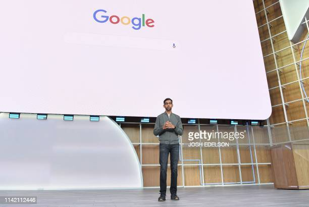 Google CEO Sundar Pichai speaks during the Google I/O 2019 keynote session at Shoreline Amphitheatre in Mountain View California on May 7 2019