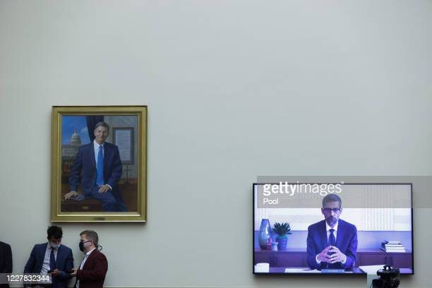 Google CEO Sundar Pichai speaks via video conference during an Antitrust Commercial and Administrative Law Subcommittee hearing on Online platforms...