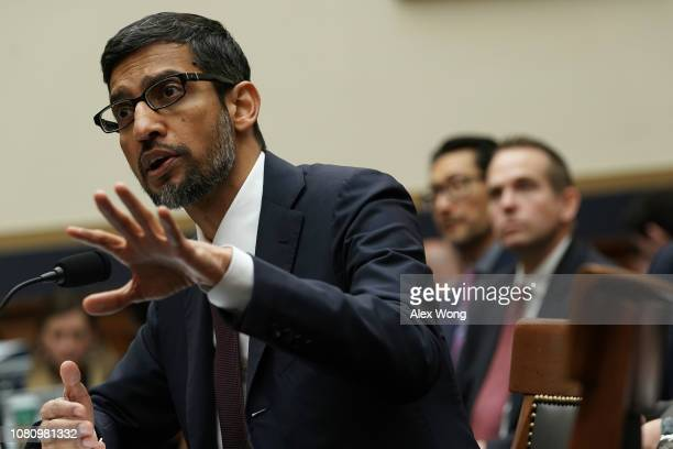 Google CEO Sundar Pichai testifies before the House Judiciary Committee at the Rayburn House Office Building on December 11 2018 in Washington DC The...