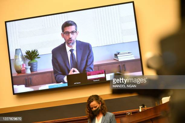 Google CEO Sundar Pichai testifies before the House Judiciary Subcommittee on Antitrust Commercial and Administrative Law on Online Platforms and...