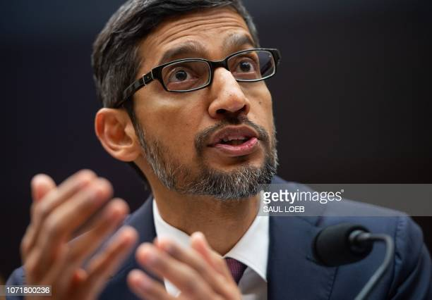 Google CEO Sundar Pichai testifies during a House Judiciary Committee hearing on Capitol Hill in Washington DC December 11 2018 Google chief...