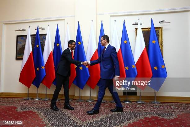 Google CEO Sundararajan Pichai meets with Polish Prime Minister Mateusz Morawiecki in Warsaw. Pichai visits Poland to participate in the 'Central and...