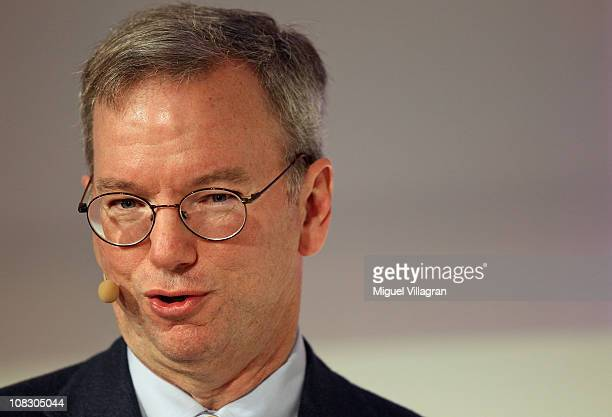 Google Chairman and CEO Eric Schmidt delivers the closing keynote speech at the Digital Life Design conference at HVB Forum on January 25 2011 in...