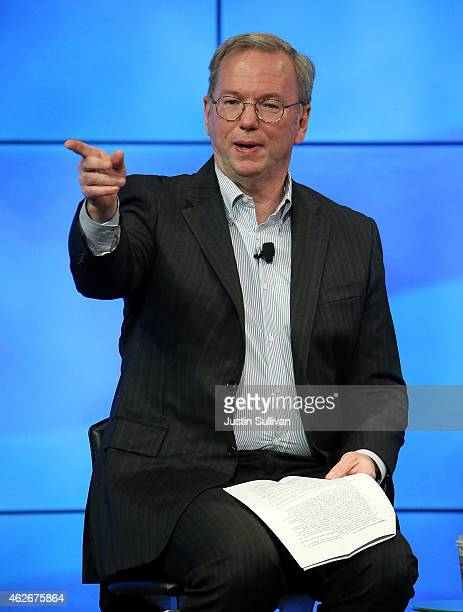 Google Chairman Eric Schmidt speaks during a fireside chat with US Transportation Secretary Anthony Foxx at the Google headquarters on February 2...