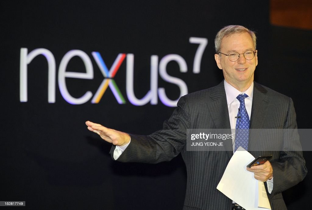 Google Chief Executive Eric Schmidt speaks during a news conference to launch its new tablet PC, Nexus 7, in Seoul on September 27, 2012. Schmidt criticised raging patent disputes in the global mobile industry, accusing them of stifling innovation and preventing choices for consumers.