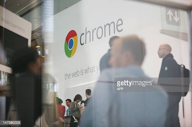 Google Chrome's logo is seen at Google's annual developer conference Google I/O at Moscone Center in San Francisco on June 28 2012 in California AFP...