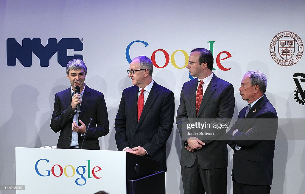 Google co-founder and CEO Larry Page speaks as Cornell University president David Skorton, Technion director Craig Gotsman and New York City Mayor Michael look on during a news conference at the Google offices on May 21, 2012 in New York City. Google announced today that it will allocate 22,000 square feet of space in its New York headquarters to CornellNYC Tech while the university completes its new campus on Roosevelt Island.