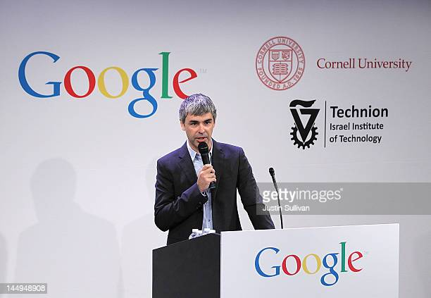 Google cofounder and CEO Larry Page speaks during a news conference at the Google offices on May 21 2012 in New York City Google announced today that...