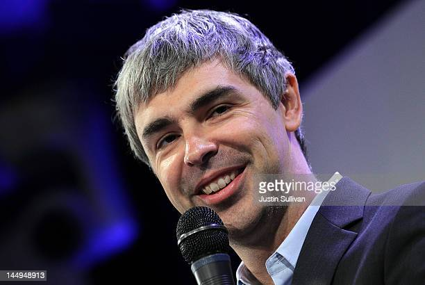 Google co-founder and CEO Larry Page speaks during a news conference at the Google offices on May 21, 2012 in New York City. Google announced today...