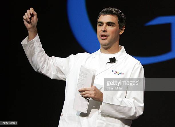 Google cofounder Larry Page delivers a keynote address at the International Consumer Electronics Show January 6 2006 in Las Vegas Nevada The 16...