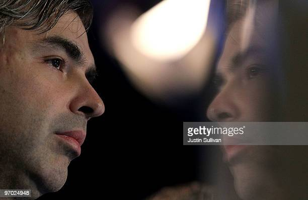 Google cofounder Larry Page looks on during a product launch on February 24 2010 at the eBay headquarters in San Jose California Bloom Energy a...