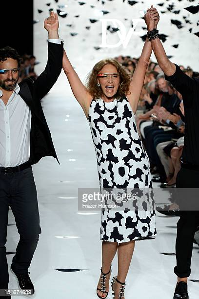 Google co-founder Sergey Brin and designer Diane Von Furstenberg walk the runway at the Diane Von Furstenberg Spring 2013 fashion show during...