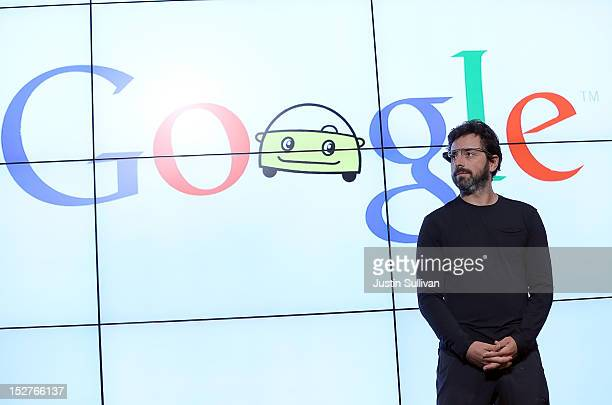 Google co-founder Sergey Brin looks on during a news conference at Google headquarters on September 25, 2012 in Mountain View, California. California...