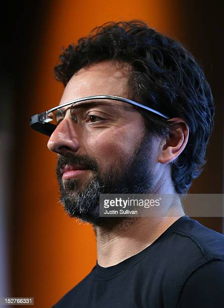 Google cofounder Sergey Brin looks on during a news conference at Google headquarters on September 25 2012 in Mountain View California California Gov...
