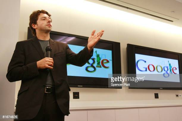 Google cofounder Sergey Brin opens the internet company's new office space inside historic Chelsea Market June 23 2008 in New York City The new space...