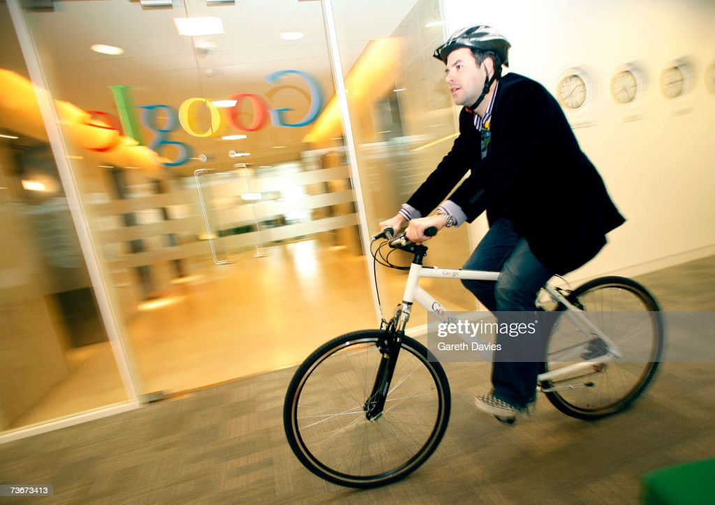 A Google employee rides his new Google branded bicycle on March 22, 2007 in London, England. Google has improved its green credentials by offering all of its employees a free bike to ride to work. The bikes, manufactured by Raleigh Europe, will be offered to around 2,000 permanent employees of the search engine giant in Europe, the Middle East and Africa. All of the bikes, plus free helmets, will be branded with the Google name.