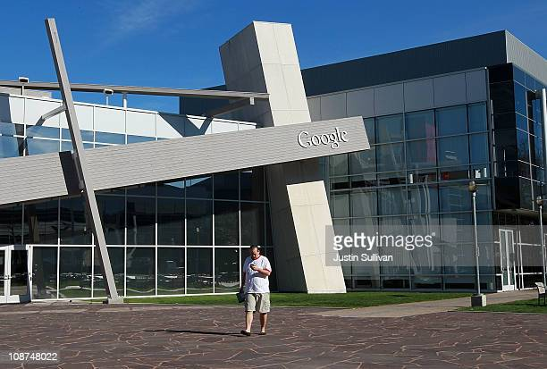 Google employee walks across the campus at Google headquarters on February 2, 2011 in Mountain View, California. Google unveiled its Android...