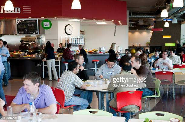 Google employees and contractors fill the cafeteria at Google Kirkland October 28 2009 in Kirkland Washington More than 350 employees work in the...